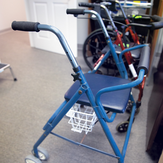 picture of a blue walker with a seat