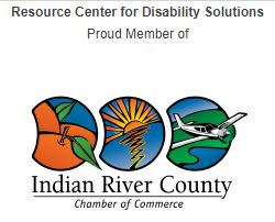 Indian River County Chamber of Commerce logo, picture of an orange, the sunshine, and an airplane