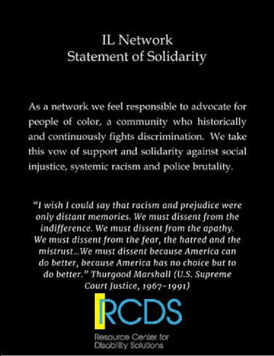 """As a network we feel responsible to advocate for people of color, a community who historically and continuously fights discrimination. We take this vow of support and solidarity against social injustice, systemic racism and police brutality. Quote: I wish I could say that racism and prejudice were only distant memories. We must dissent from the indifference. We must dissent from the apathy. We must dissent from the fear, the hatred and the mistrust... We must dissent because America can do better, because America has no choice but to do better."""" Thurgood Marshall (U.S. Supreme Court Justice, 1967-1991)"""