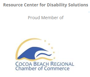 Cocoa beach Chamber of Commerce logo, blue wave in gold circle