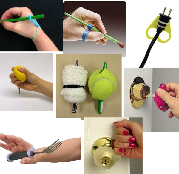 Accessibility items such as rubber bands, tennis balls, door knob, scissor, and utensil grips, pencil and paintbrush grippers