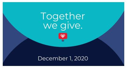 Together we give. December 1, 2020, blue circle on dark blue background